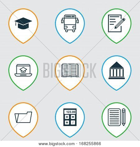 Set Of 9 Education Icons. Includes Paper, Electronic Tool, Education Center And Other Symbols. Beautiful Design Elements.