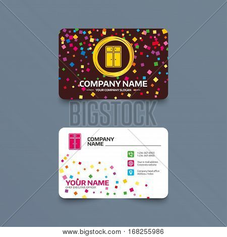 Business card template with confetti pieces. Cupboard sign icon. Modern furniture symbol. Phone, web and location icons. Visiting card  Vector