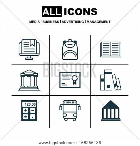 Set Of 9 School Icons. Includes Electronic Tool, Haversack, College And Other Symbols. Beautiful Design Elements.