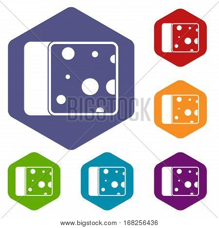 Cheese icons set rhombus in different colors isolated on white background