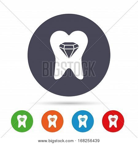 Tooth crystal icon. Tooth jewellery sign. Dental prestige symbol. Round colourful buttons with flat icons. Vector