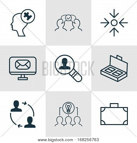 Set Of 9 Business Management Icons. Includes Email, Open Vacancy, Cooperation And Other Symbols. Beautiful Design Elements.