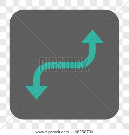 Opposite Curved Arrow interface toolbar button. Vector icon style is a flat symbol inside a rounded square button cyan and gray colors chess transparent background.