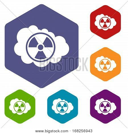 Cloud and radioactive sign icons set rhombus in different colors isolated on white background