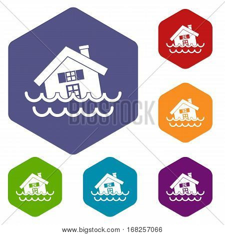 House sinking in a water icons set rhombus in different colors isolated on white background
