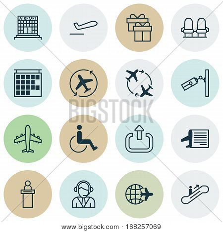 Set Of 16 Traveling Icons. Includes Operator, Video Surveillance, Accessibility And Other Symbols. Beautiful Design Elements.