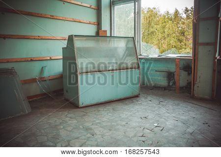 Abandoned canteen of destroyed Voronezh aluminum plant