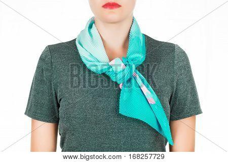 Blue Silk Scarf Around Her Neck Isolated On White Ba