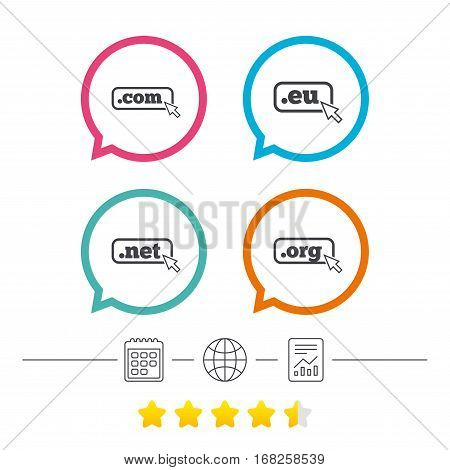 Top-level internet domain icons. Com, Eu, Net and Org symbols with cursor pointer. Unique DNS names. Calendar, internet globe and report linear icons. Star vote ranking. Vector