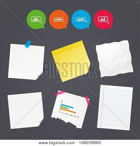 Business paper banners with notes. Top-level internet domain icons. De, Com, Net and Nl symbols with cursor pointer. Unique national DNS names. Sticky colorful tape. Speech bubbles with icons. Vector