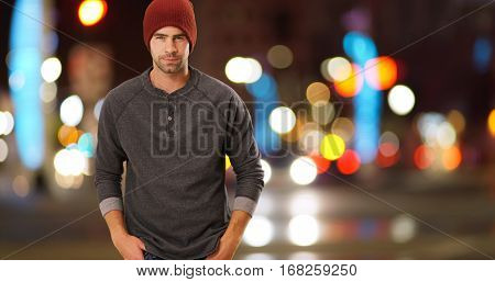 Sexy Urban Hipster Standing Next To Street At Night
