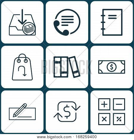 Set Of 9 E-Commerce Icons. Includes Money Transfer, Buck, Refund And Other Symbols. Beautiful Design Elements.
