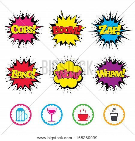 Comic Wow, Oops, Boom and Wham sound effects. Drinks icons. Coffee cup and glass of beer symbols. Wine glass sign. Zap speech bubbles in pop art. Vector