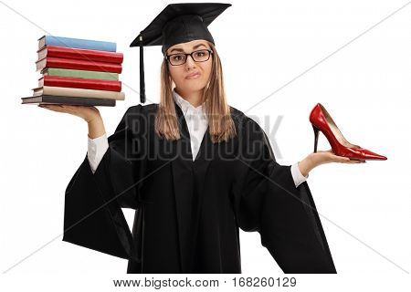 Indecisive graduate student holding a stack of books and a high heel shoe isolated on white background