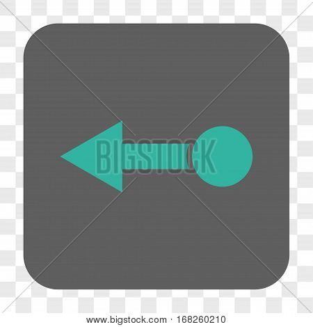Pull Left interface toolbar button. Vector icon style is a flat symbol on a rounded square button cyan and gray colors chess transparent background.