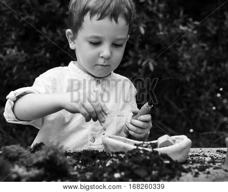 Boy Playing Garden Plant Greyscale