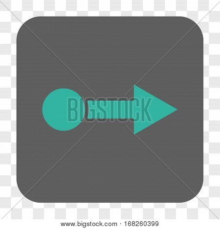 Pull Right interface toolbar button. Vector icon style is a flat symbol inside a rounded square button cyan and gray colors chess transparent background.