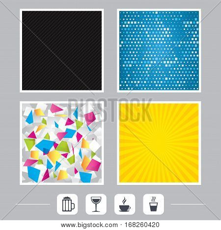 Carbon fiber texture. Yellow flare and abstract backgrounds. Drinks icons. Coffee cup and glass of beer symbols. Wine glass sign. Flat design web icons. Vector