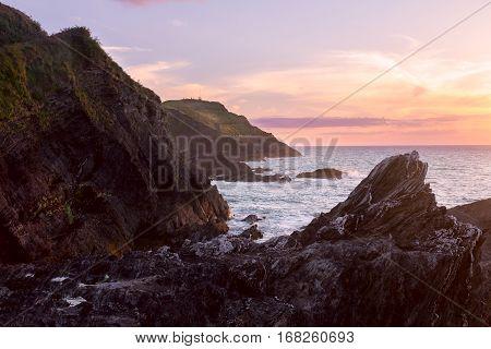 Beautiful sunset on the north coast of Devonshire. Ilfracombe. North Devon. UK