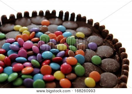 Chocolate Cake Covered In Chocolate Fingers, Chocolate Buttons And Chocolate Beans