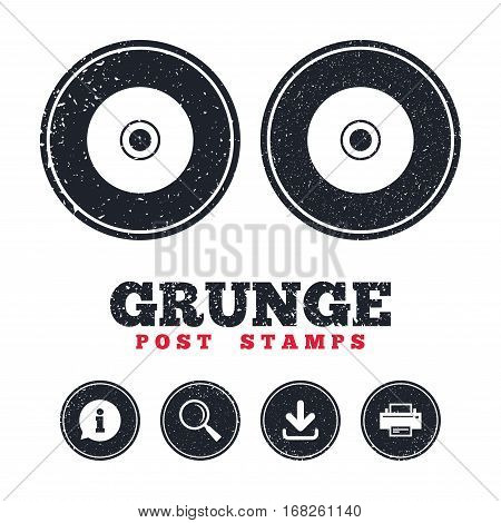 Grunge post stamps. CD or DVD sign icon. Compact disc symbol. Information, download and printer signs. Aged texture web buttons. Vector