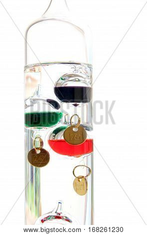 Galileo Thermometer With Glass Balls Isolated On White Showing Temperature