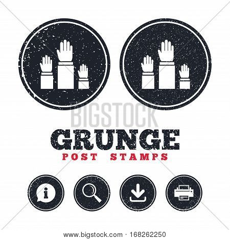 Grunge post stamps. Election or voting sign icon. Hands raised up symbol. People referendum. Information, download and printer signs. Aged texture web buttons. Vector