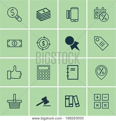 Set Of 16 E-Commerce Icons. Includes Ticket, Calculation Tool, Dollar Banknote And Other Symbols. Beautiful Design Elements.