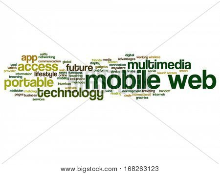Vector concept or conceptual mobile web portable multimedia technology abstract word cloud isolated on background metaphor to access, future app, lifestyle communication, social tool, online services