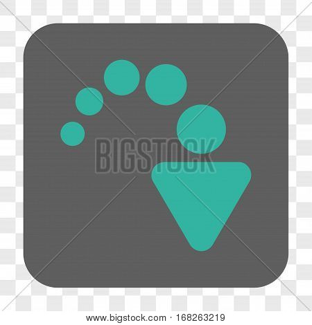 Redo interface toolbar button. Vector icon style is a flat symbol on a rounded square button cyan and gray colors chess transparent background.