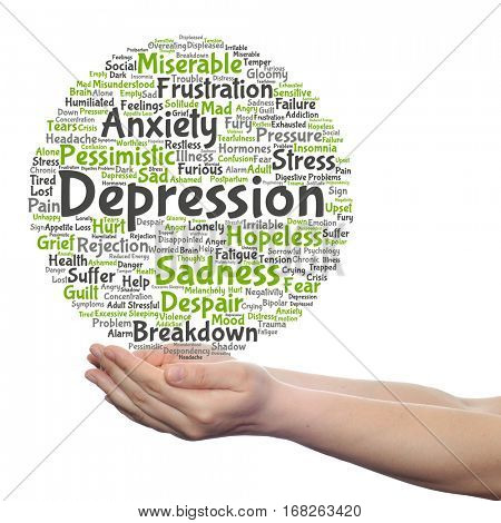 Concept conceptual depression mental emotional disorder abstract word cloud held in hands isolated on background for anxiety, sadness, negative, sad, problem, despair, unhappy, frustration symptom