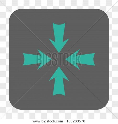 Reduce Arrows interface toolbar button. Vector icon style is a flat symbol in a rounded square button cyan and gray colors chess transparent background.