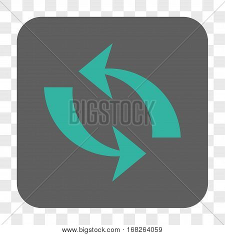 Refresh interface toolbar button. Vector icon style is a flat symbol in a rounded square button cyan and gray colors chess transparent background.