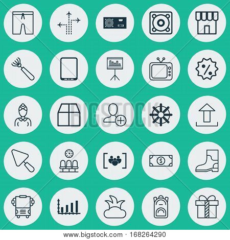 Set Of 25 Universal Editable Icons. Can Be Used For Web, Mobile And App Design. Includes Elements Such As Harrow, Presentation, Seats And More.