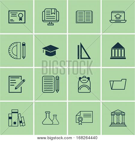 Set Of 16 School Icons. Includes Diploma, Graduation, Education Center And Other Symbols. Beautiful Design Elements.