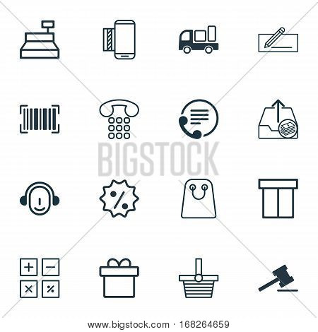 Set Of 16 Ecommerce Icons. Includes Gavel, Tote Bag, Telephone And Other Symbols. Beautiful Design Elements.