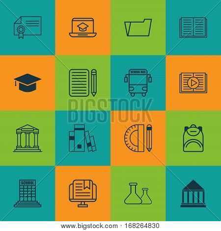 Set Of 16 Education Icons. Includes Haversack, Education Tools, Academy And Other Symbols. Beautiful Design Elements.