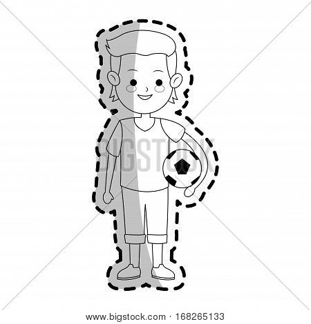 boy with soccer ball over white background. vector illustration