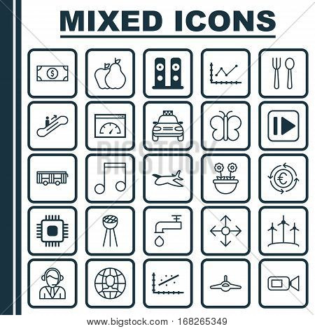 Set Of 25 Universal Editable Icons. Can Be Used For Web, Mobile And App Design. Includes Elements Such As Loudspeakers, Car Vehicle, Eating House And More.