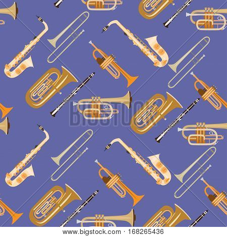 Vector seamless pattern with wind musical instruments. Saxophone clarinet trumpet trombone and tuba woodwind and brass musical instruments.