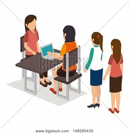 Group of businesspeople gathered vector illustration design