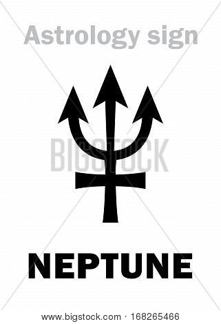Astrology Alphabet: NEPTUNE Transsaturn higher global planet. Hieroglyphics character sign (single symbol).