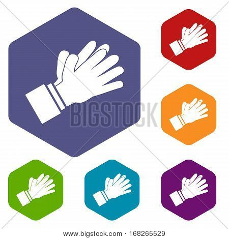 Clapping applauding hands icons set rhombus in different colors isolated on white background