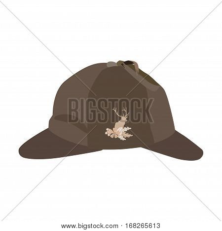 Vector illustration of detective sherlock holmes hat isolated on white background. Brown deerstalker hat with cloth badge deer silhouette oak leaves and acorns in flat style.