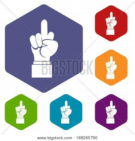 Middle finger hand sign icons set rhombus in different colors isolated on white background