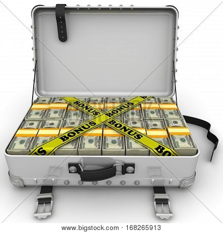 Bonus. Suitcase full of money. A suitcase filled with bundles of US dollars and yellow tapes with text