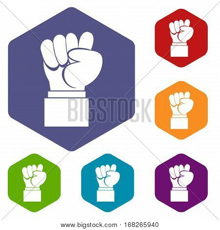Raised up clenched male fist icons set rhombus in different colors isolated on white background