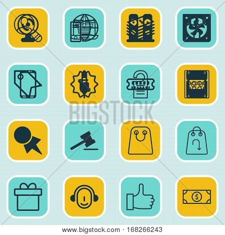 Set Of 16 Commerce Icons. Includes E-Trade, Employee, Rebate Sign And Other Symbols. Beautiful Design Elements.