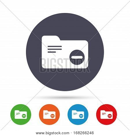 Delete document folder sign. Accounting binder symbol. Bookkeeping management. Round colourful buttons with flat icons. Vector