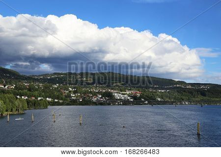 LILLIHAMMER, NORWAY - JULY 6, 2016: This is town Lillehammer located on the banks of Lake Mjosa - the largest in Norway.